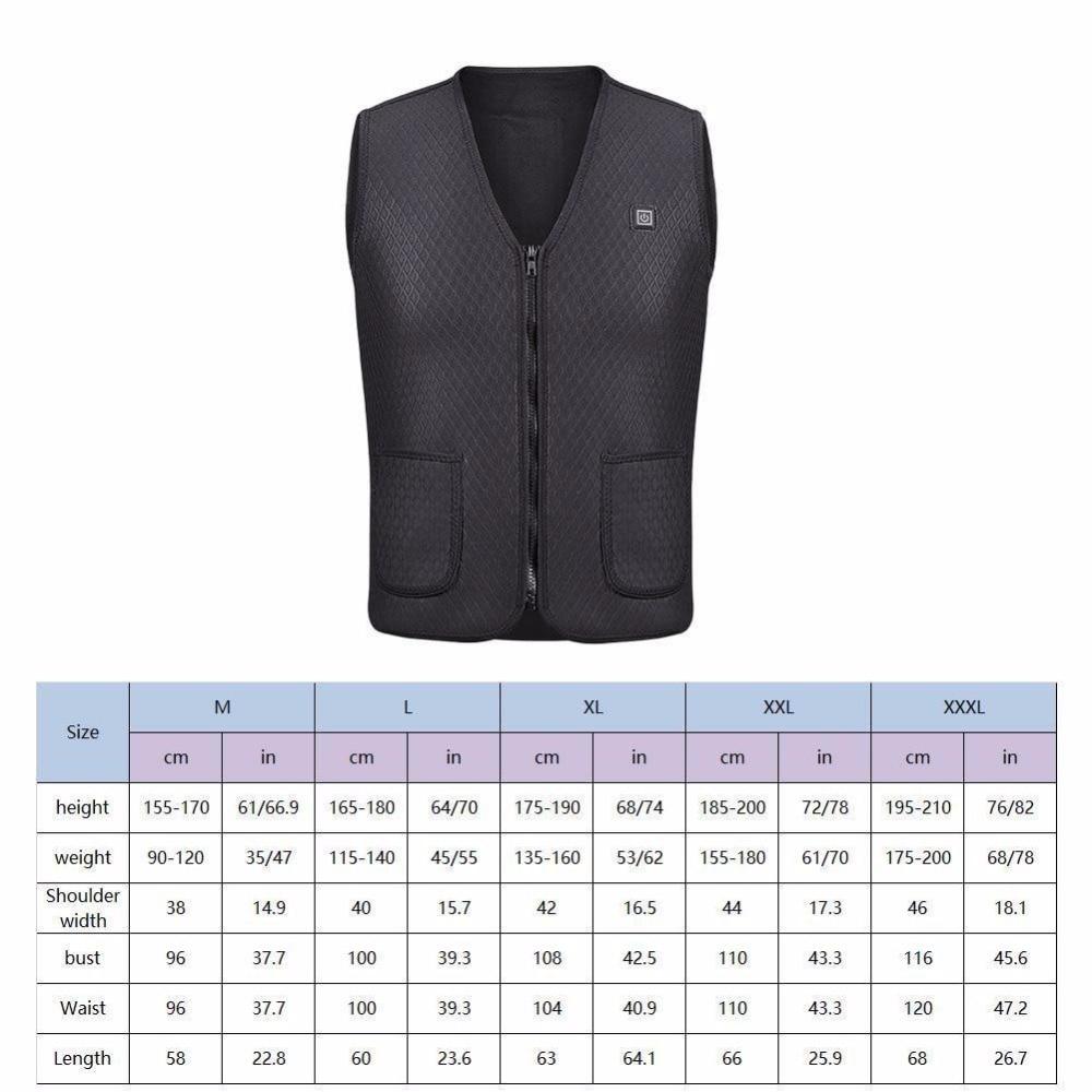 5 Big Areas Heated Vest Warm Body Electric USB Men Women Heating Coat Jacket