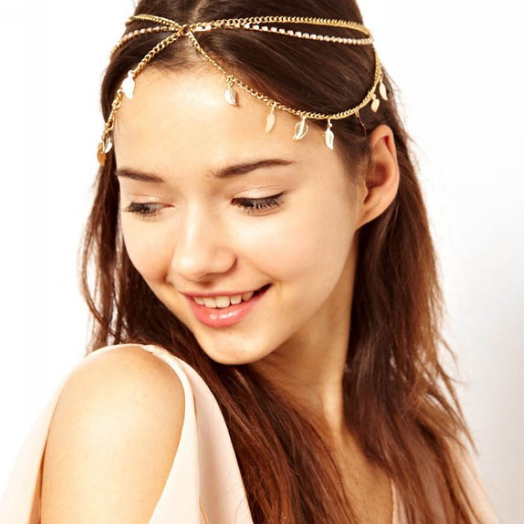 Silver Boho Waves Headdress Fringe Tassel Forehead Chain Headband Bridal Gift