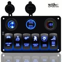 Waterproof IP67 Blue LED 12V 24V 6 Gang Car Caravan Marine Boat RV Dual USB Port Rocker Switch Panel Socket Circuit Breaker