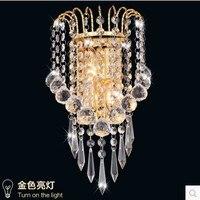 Ouro de aço inoxidável moderna conduziu a lâmpada parede cristal com 2 luzes para casa arandela cristal aplik
