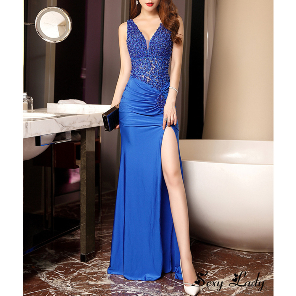 Sexy Party Dress Women Sleeveless Floor Length Deep V neck Beadings Maxi Dress Summer Dress Elegant