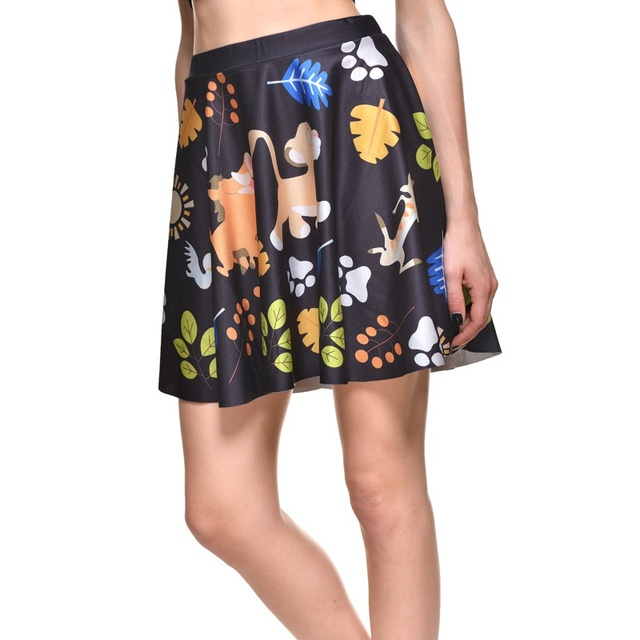 34deeea99a Lovely Animal Women Sexy Pleated Skirts Tennis Bowling Bust Shorts Skirts  Plus Size Color Leaf Female Fitness Apparel A Style