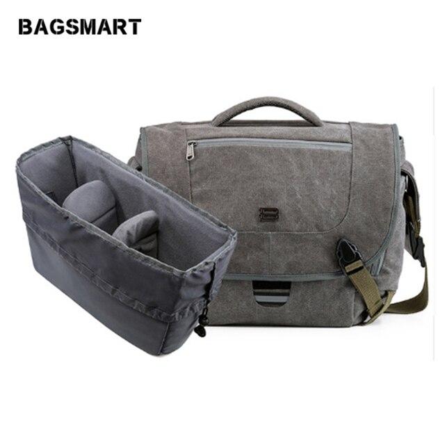 Bagsmart Water Resistant Vintage Camera Shoulder Bag Canvas Messenger Canon Nikon Dslr Bags To