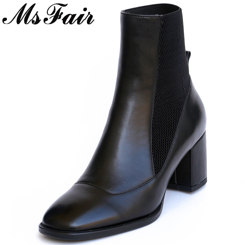 MSFAIR Square Toe High Heel Women Boots Genuine Leather Fashion Ankle Boots Women Shoes Elegant Square Heel Boots Shoes Woman anmairon new genuine leather boots cowhide women s ankle boots square heel fashion real leather motorcycle snow boots shoes