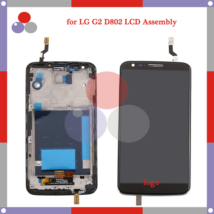 OEM 100% test 5.2 For LG G2 LCD D802 D805 LCD Screen Display + Touch Screen Digitizer Assembly with frame Free shipping