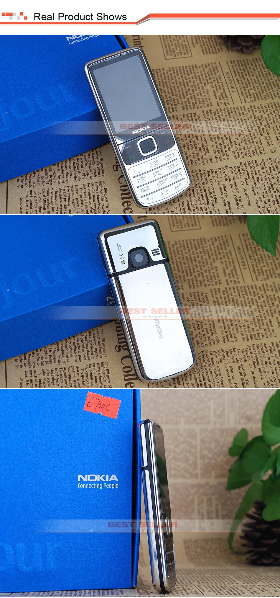 Refurbished phone 6700C Cell Phone Unlocked Nokia 6700 Classic GSM 3G Gps Mobile Phone 5MP Camera gold 4
