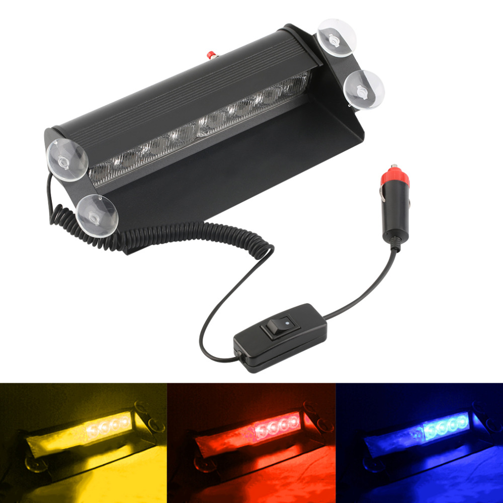 цена на New 8 LED Red/Blue/Yellow Car Police Strobe Flash Light Dash Emergency Warning 3 Flashing Fog Light Daytime Running Light