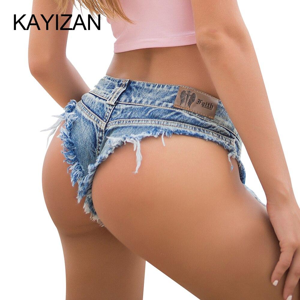KAYIZAN New Summer   Jeans   Women Beach Pants Sexy   Jeans   Denim Mini Short   Jeans   Hot Pants Low Waist Sexy Hole Hot Bottom   Jeans