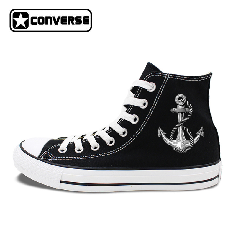 Original Design Anchor Navigation Sailing High Top Converse All Star Shoes Black White Canvas Sneakers Unisex High Top Shoes