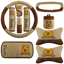 Car steering wheel cover Winnie Pooh car supplies headrest seat belt shoulder visor set cute cartoon car decorations все цены