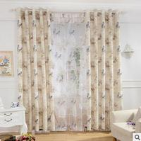 FYFUYOUFY American Style Birds Printed Curtain Living Room Soft Cotton Linen Cloth Curtain Voile Curtain Natural