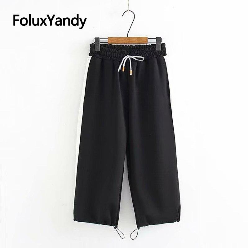 Ankle-length   Pants   Women Plus Size XXXL 5XL Casual Elastic Waist Loose Striped   Wide     Leg     Pants   Black Gray Trousers KKFY3387