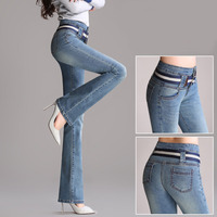 Spring and autumn new high waist micro La jeans women stretch the abdomen bell pants large size Slim straight wide pants