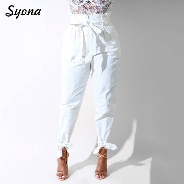 Joggers Women Trousers Capri High Waist Lace Up Paperbag PANTS Paper Bag Casual Office Lady Work Plus Size Female Bottom White