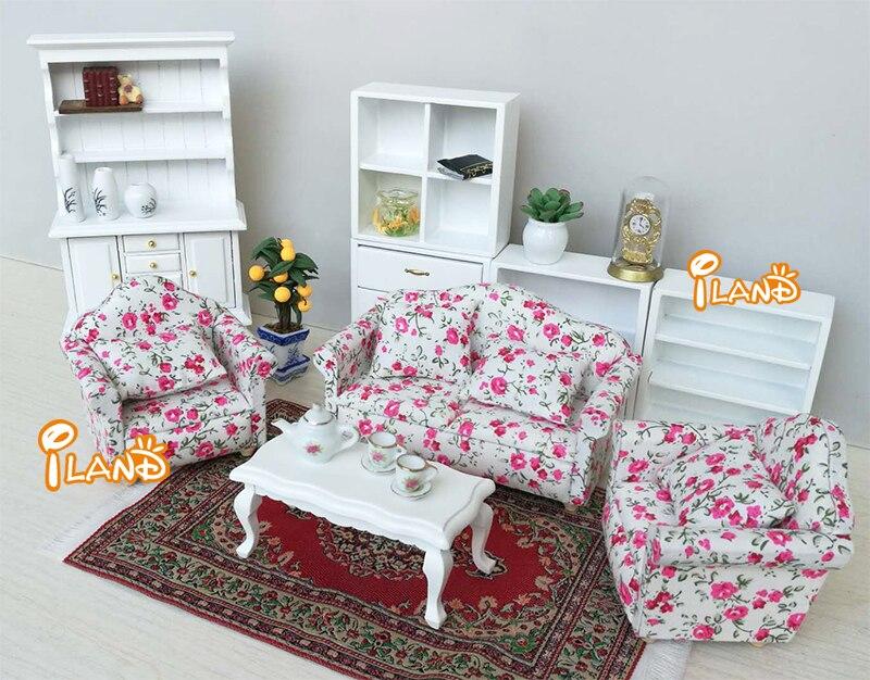 Computer Set 1:12 Dollhouse Miniature Furniture 6pcs Wood Desk Chair Keyboard Printer Computer Host Wl014 Toys & Hobbies