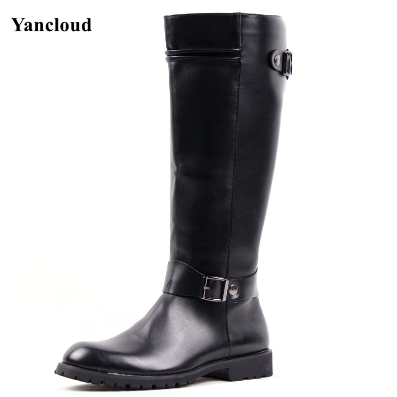 ФОТО 2016 Winter Fall Fashion Mid Calf Men Riding Boots  PU Leather Buckle Martin Boots Mens Long Military Boots Motorcycle Boot