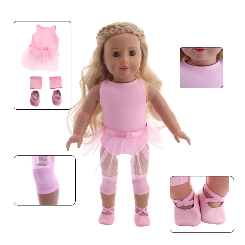 Doll Clothes 3 Pcs Doll Ballet Skirt+Ballet Shoes+Kneecap For 18 Inch American Doll & 43 Cm Born Doll Accessories For Generation