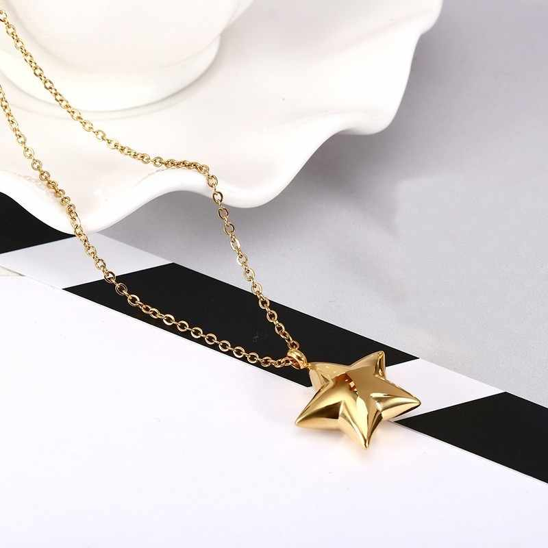 ... RIR Fashion Minimalist Star Necklace Silver Gold And Rose Gold  Pentagram Pendant Chocker In Stainless Steel ... 375e01bf91b6