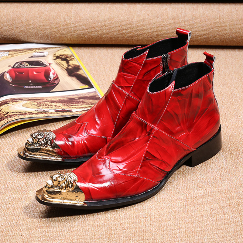 Christia Bella Fashion Winter Men Boots Genuine Leather Men Ankle Boots Red Pointed Toe Cowboy Boots Party Wedding Dress Boots