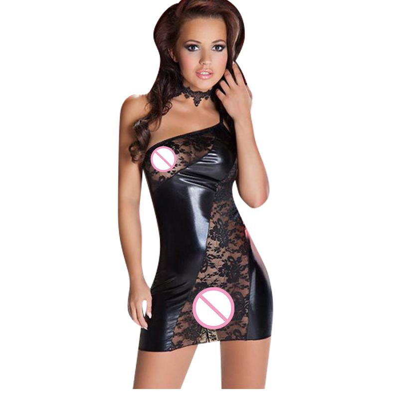 c0edba14c673 Wonder beauty Lace Leather Club Mini Dress Lady s One Shoulder Vinyl Dress  Sexy Club Dress Women Party Night Club Dresses W1120-in Dresses from  Women s ...