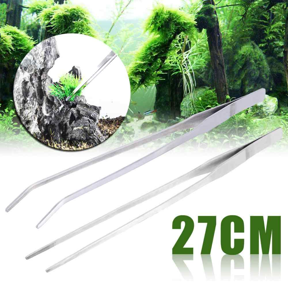 New Straight/Elbow Stainless Steel Tank Tweezers Pliers Aquarium Tool Fish Tank Aquatic Plants Forceps Clip For Cleaning Tool