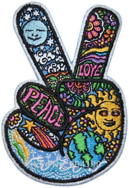 V Signe Victoire Main Hippie Peace   Love Symbole Dan Morris Rock Punk  rétro couture applique c289380e693