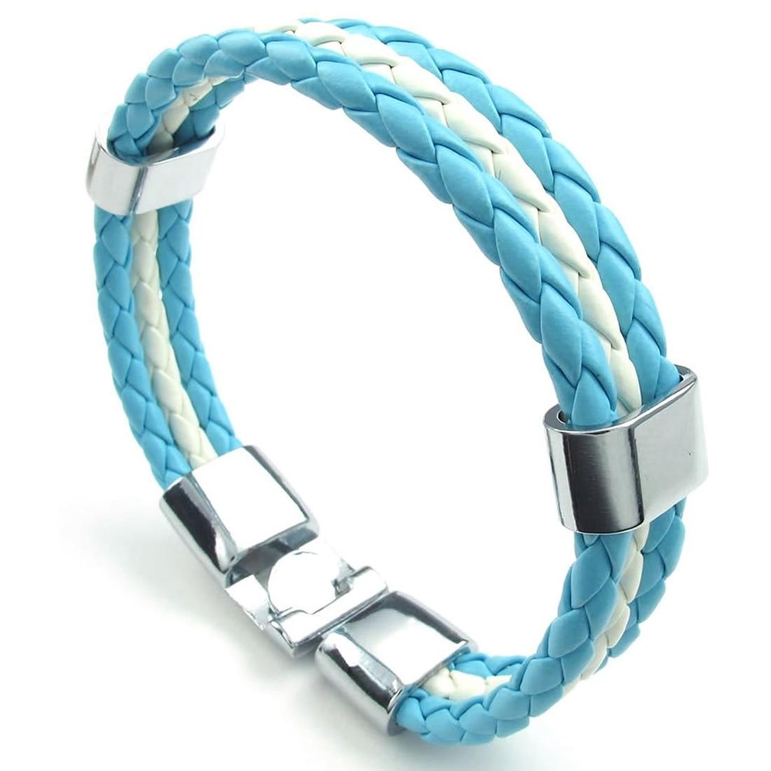 Blue Leather Bracelet White...