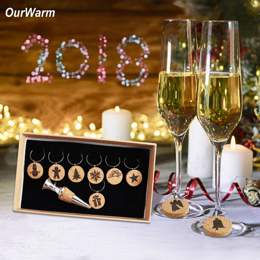 Christmas Wine Stoppers.Us 12 43 33 Off Ourwarm Christmas Wine Bottle Stopper Bar Tools Wine Stoppers New Year Gifts Hanging Cocktail Drink Markers Cup Ring With Box In