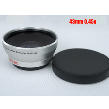 BON CREATION 43mm 0.45x WIDE Angle + Macro Conversion LENS 43 0.45 Silver lens High Resolution Camera Camcorder Lens