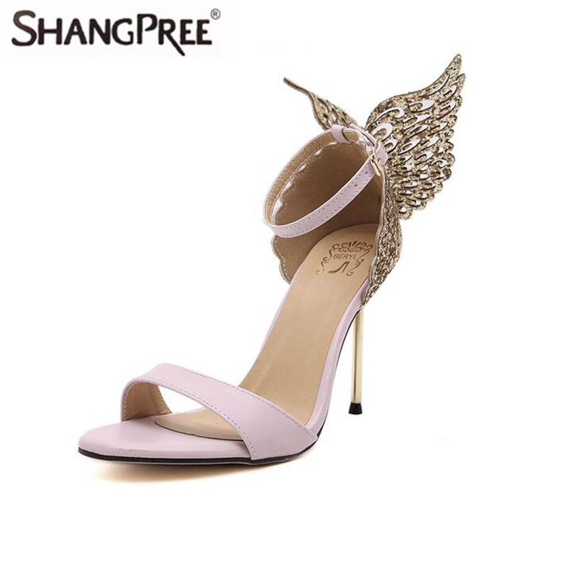 2017 New Women Sandals sexy butterfly bow heel thin high heel sandal rhinestone female party shose summer Super high heelshoes
