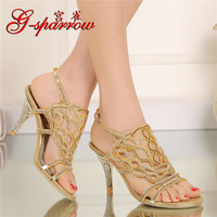 G-SPARROW 2017 Yaz Bayanlar Moda Büyük Boyutlarda Online Yeni Elmas Altın Yüksek Topuklu Sandalet Stiletto Pompa kadın Ayakkabı ABD 9