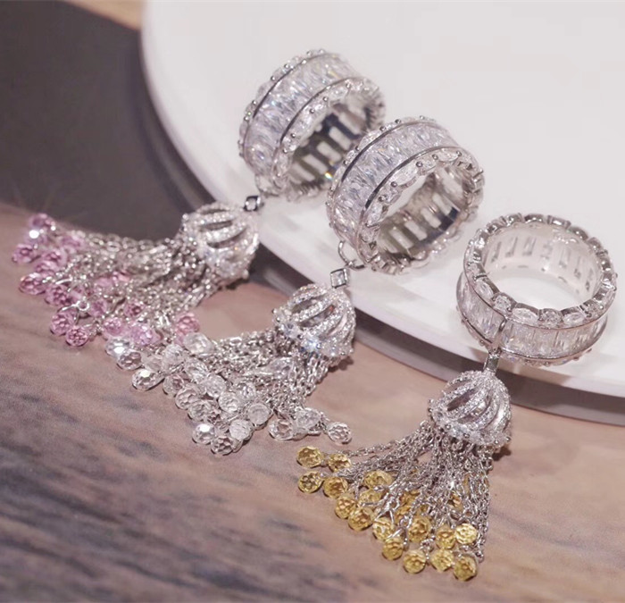Designer De Mode 925 Bijoux En Argent Sterling 3A zircone cubique Parti Anneau