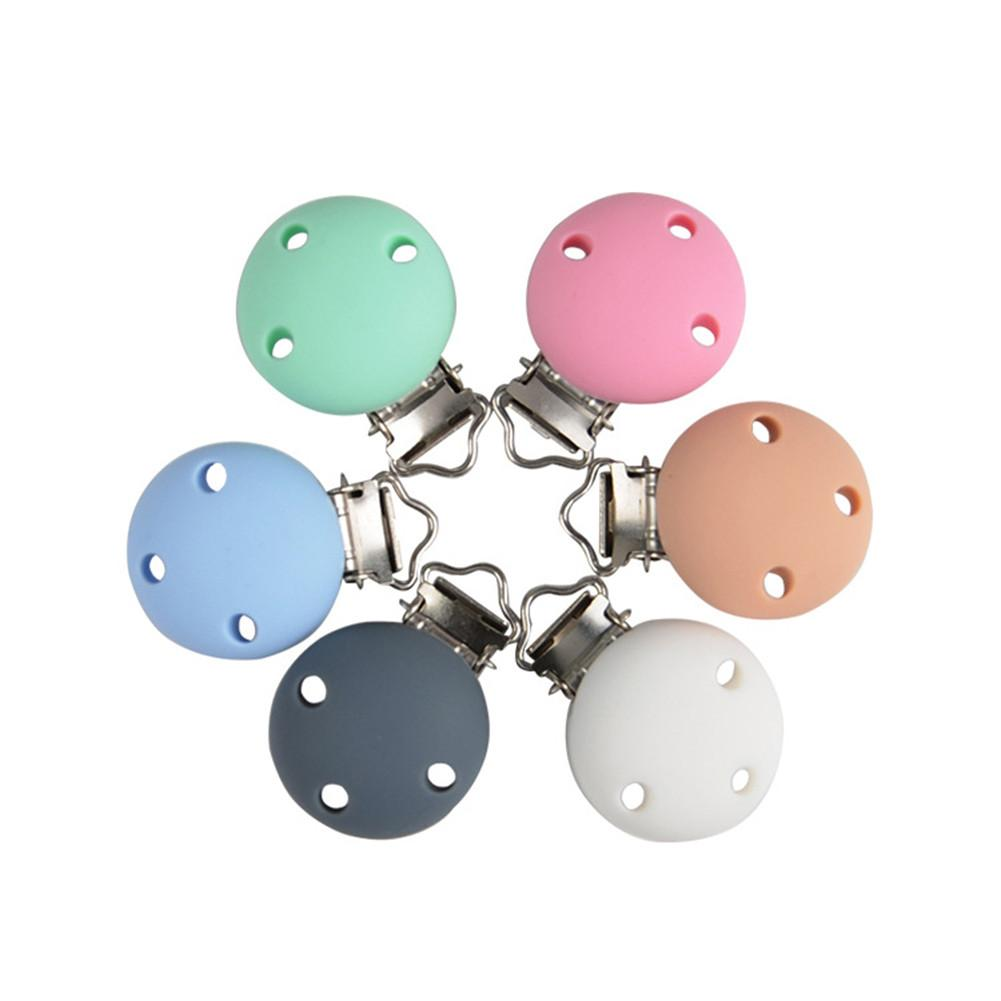 6 Colors Round Shaped Pacifier Clip Bead Baby Teether Teething Accessories Clip ToyDIY Three-hole Round Food Grade Silicone Clip