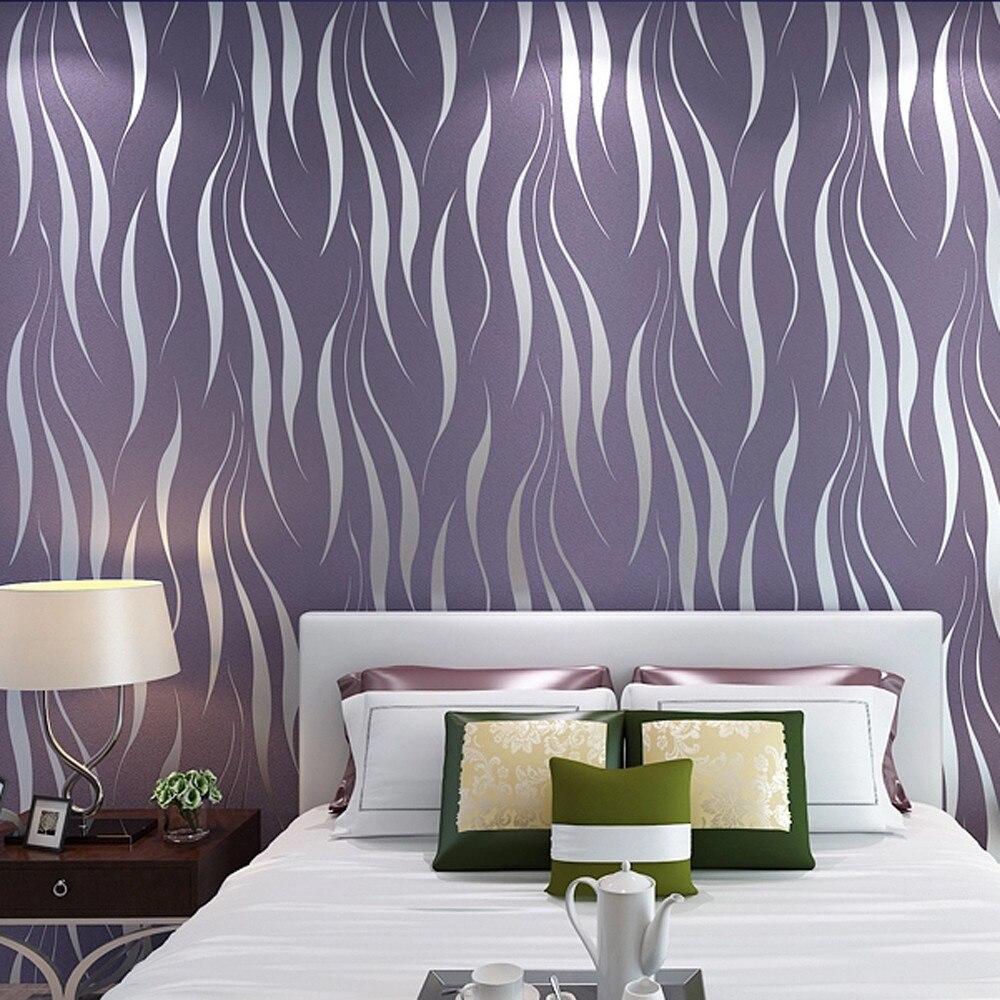 Argent 3D Non-tissé vague rayure en relief papier peint rouleaux salon décor 10 m livraison directe Apr10