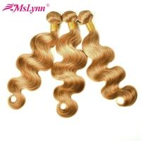 Mslynn Honey Blonde Brazilian Hair Weave Bundles Body Wave 1 Piece 27 Non Remy Human Hair