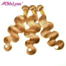 Mslynn мед блондинка бразильский плетение волос Связки объемная волна цельнокроеное платье #27-человеческих волос пучков 10- 24 дюйм(ов) Бесплатн...(China (Mainland))