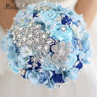 Luxury Crystal Wedding Bouquets With Diamonds Brooch Bouquets Bridal Artificial Roses Flowers 2017 Blue Ramo De Novia De Cristal