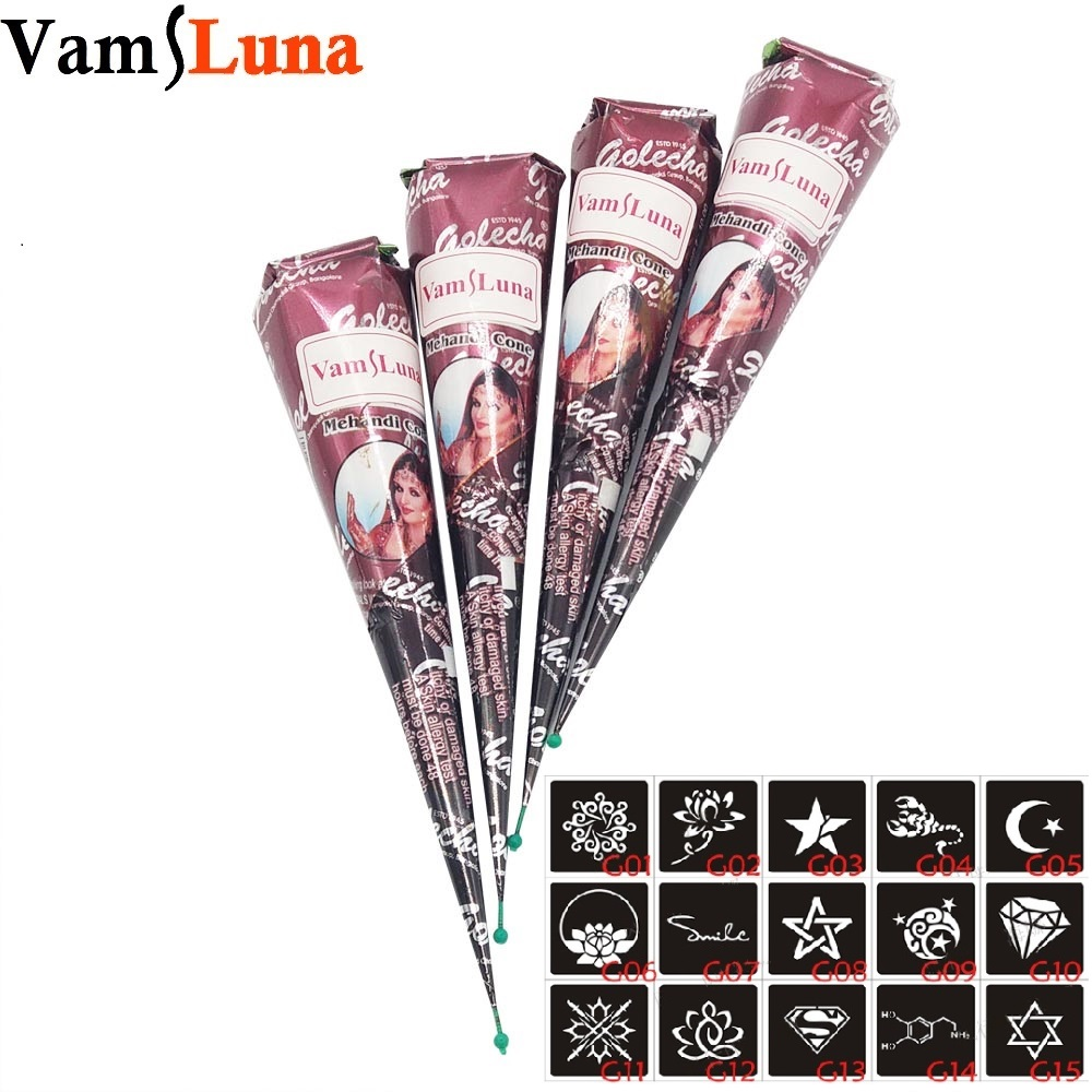 4X Henna Tattoo Ink Brown color + 15 Stencils 6*6cm Body Art Mehndi Ink For Body Painting for Men & Women