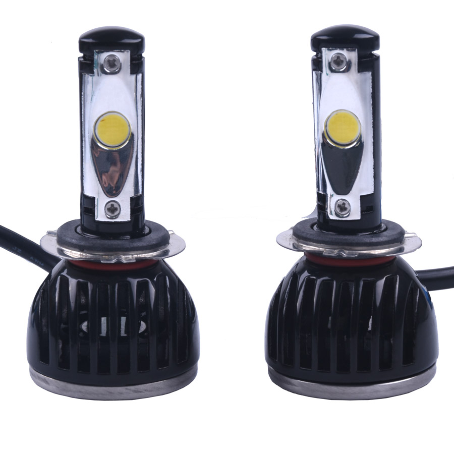 2Pcs Led Car Auto Headlight H7 H1 H10 5202 White Bulb COB for Automotives Headlight Fog lamp DRL with Fan Play & Plug 6000k led car auto headlight h7 80w 8000lm 4 cob led all in one white bulb for automotives headlight fog lamp