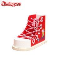 Simingyou Juguetes De Madera Niños Rojos Zapatos Con Zapatos de Bebé de la Ayuda del Departamento de Cordones Niños Juguetes B40-50 Envío de La Gota