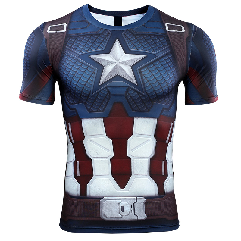 Mens Marvel Captain America T Shirts Compression Workout Tops 3D Cosplay Tees