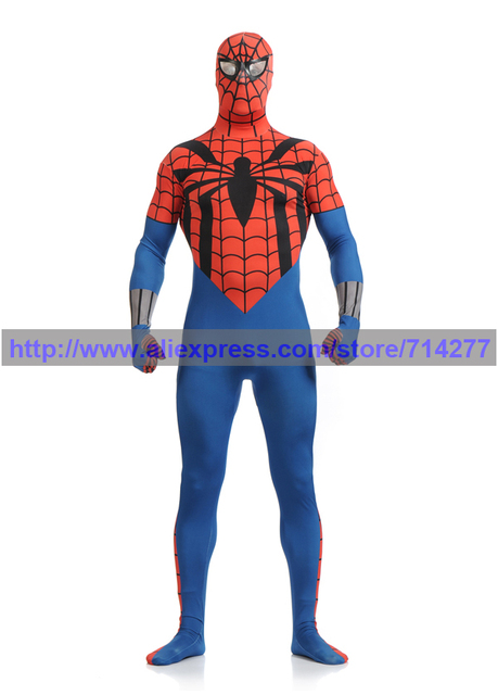 2015 blue and red cool spiderman costume spiderman suit spider man lycra children and adult