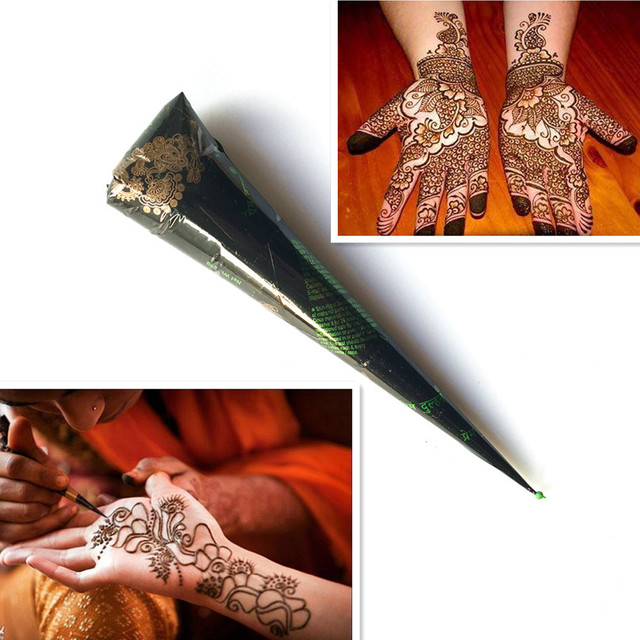 ec2cc29b9 No-Toxic Natural Body Painting Brown Color Henna Paste Indian Mehndi Henna  Cream Cone Sex Girl Drawing Tribal Makeup For Stencil