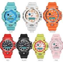 Marka BOAMIGO kobiety sport zegarki wielofunkcyjny podwójny wyświetlacz zegarki moda cyfrowe zegarki na rękę wodoodporny Relogio Feminino