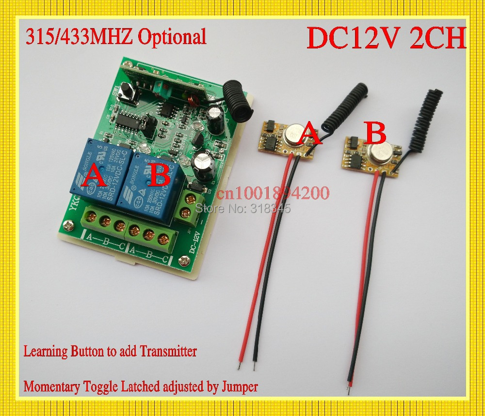DC 12V 2CH Relay Receiver 2 Transmitter PCB Module Power ON Transmitting DC3V-12V Mini RemoteTransmitter315/433 Momentary Toggle dc3 5v dc12v mini relay receiver dc3v dc12v transmitter pcb power on transmitting 3 7v 4 5v 5v 6v 7 4v 9v 12v wireless tx rx mod