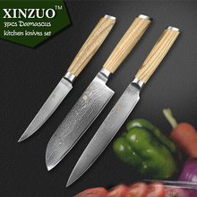 XINZUO 3 pcs kitchen knife set Damascus kitchen knife kitchen tool Japanese chef cleaver knife logs wood handle free shipping