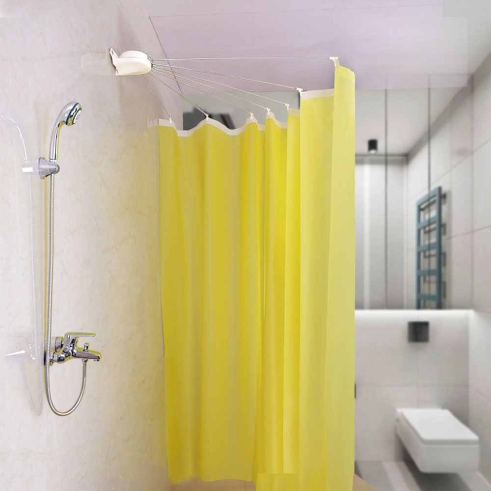BYN Foldable Wall Mounted Shower Curtain Rod Metal Space Saver Fan-shaped Bathroom Curtain Holder Rail with Hooks DQ1609
