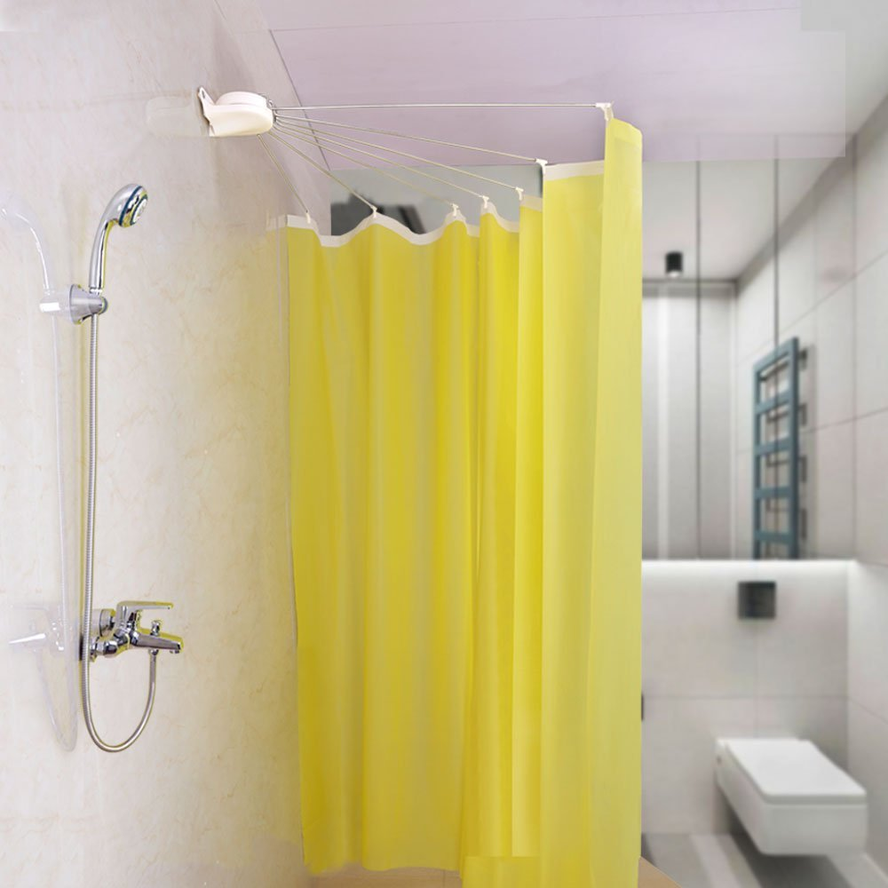 BAOYOUNI Foldable Wall Mounted Shower Curtain Rod Metal Space Saver Fan-shaped Bathroom Curtain Holder Rail with Hooks DQ1609