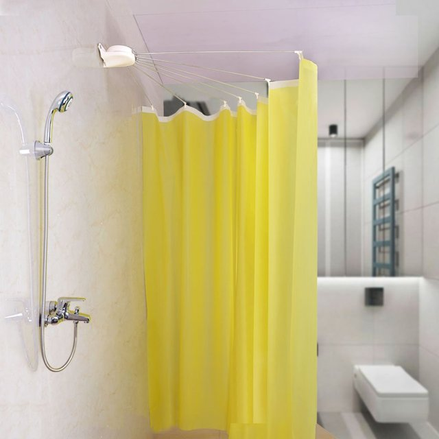 Wall Mounted Shower Curtain Rod Fan Shaped Bath Holder Rail Foldable Space Saver DQ1609