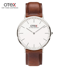 OTEX Mens Ultrafinos Relógios de Pulso para Homens Pulseira de Couro Marca De Luxo À Prova D' Água Relógio de Quartzo Montre Homme Marque de Luxe
